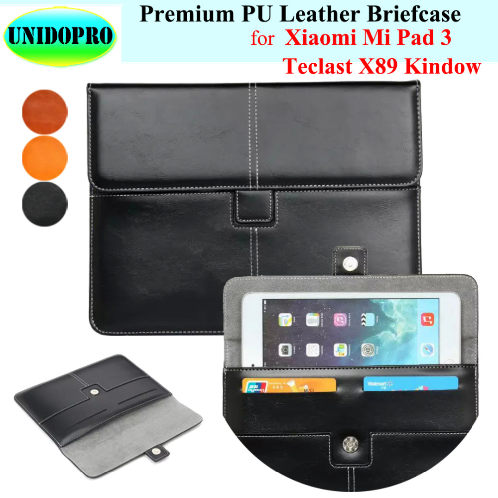 Premium PU Leather Slim Sleeve Bag for Xiaomi Mi Pad 3, Teclast X89 Kindow Tablet Briefcase Pouch Case w/ Credit Cards Holder