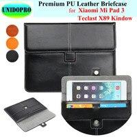 Premium PU Leather Slim Sleeve Bag For Xiaomi Mi Pad 3 Teclast X89 Kindow Tablet Briefcase