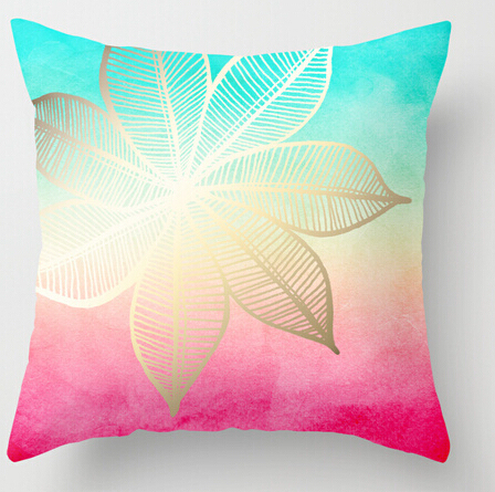 Cool Pillow Case Designs: Cool Art Design Gold Flower on Turquoise Pink Watercolor Pillow    ,
