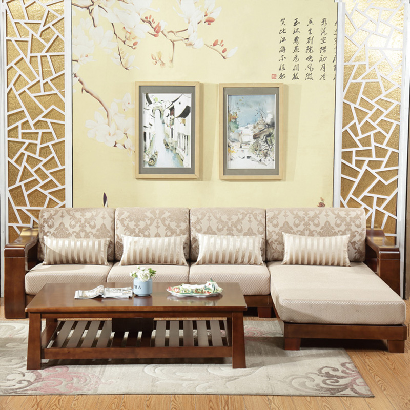 Furniture living modern Solid wood Simple sofa coffee table combination furniture parlor marble combination wood adjustable tv cabinet coffee table