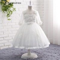 Forevergracedress Real Photos White Flower Girl Dress High Quality Cute Lace Applique Tulle Children Gown