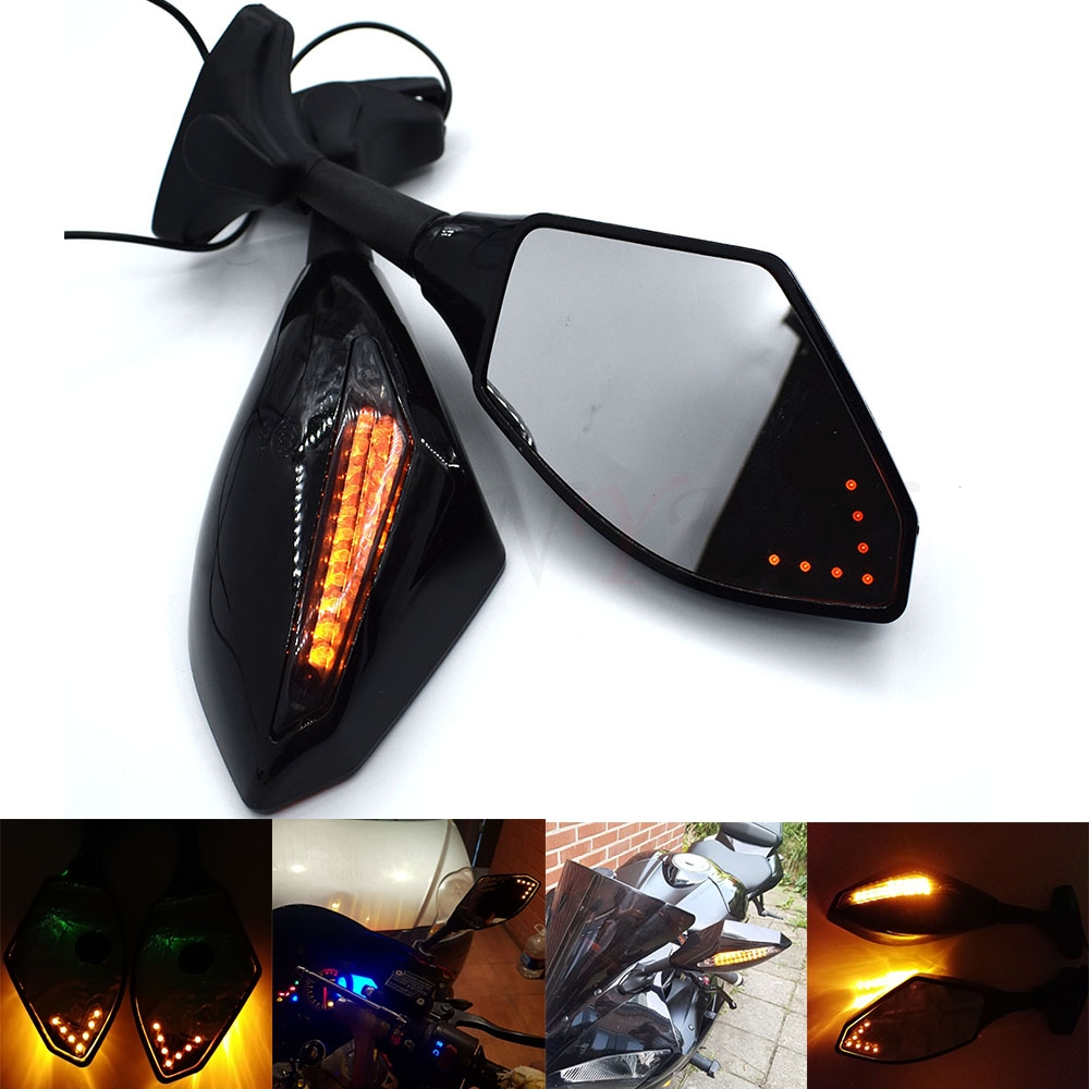 Universal Motorcycle Rear View Side Wing Mirrors w LED Turn Signal Light For Kawasaki Ninja ZX6R