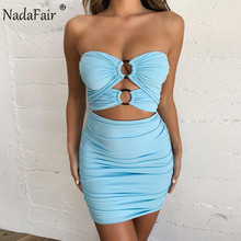 Nadafair Off Shoulder Bodycon Summer Dress Women Ruched Hollow Out Backless Club Party Sexy Mini Tube Bandage
