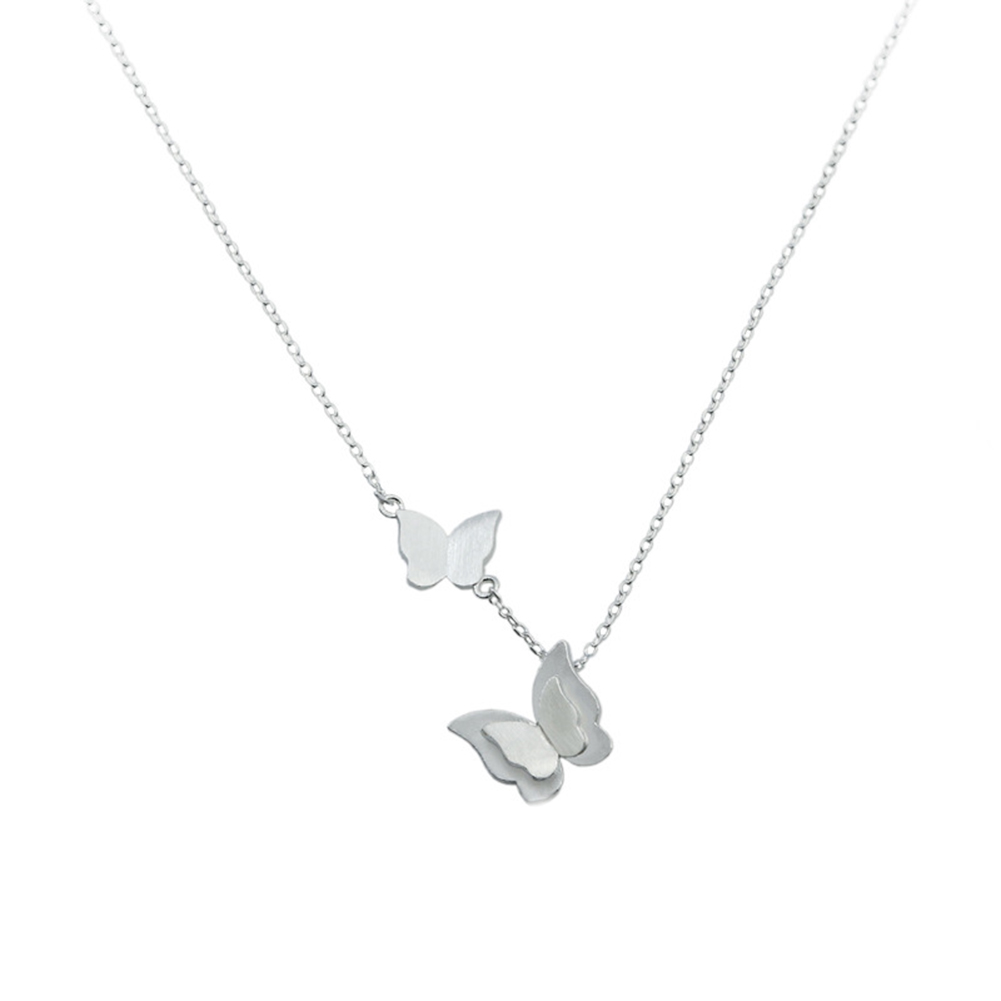 Love Jewelry Women's Jewelry Stainless Steel Double Butterfly Pendant & Necklace Clavicle Chain Necklace