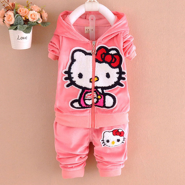 Hello kitty conjunto de roupas menina de veludo crianças meninas roupas casuais moletom com capuz + calça 2-piece set bebê fatos de treino meninas rosa vermelha