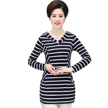 Woman Striped Blouses White Black Blue Tops V-neck Long Sleeve Shirtss Women Casual Bottoming Shirts Lady Plus Size 2019
