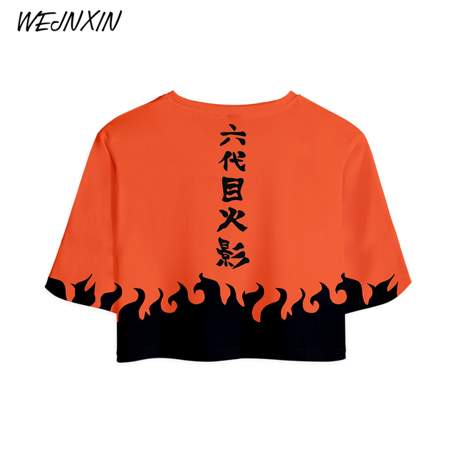 WEJNXIN Fashion 2018 Naruto Crop Top Women Summer Short Sleeve T Shirt Sexy Cropped Female 3D Cosplay Naruto Anime Tees Tops