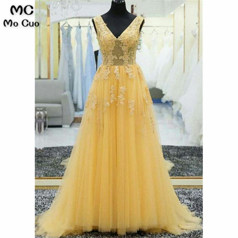 2019 Illusion A-Line Evening Dresses Long with Appliques V-Neck Prom Dress Tulle Formal Women Evening Party Dress Custom Made