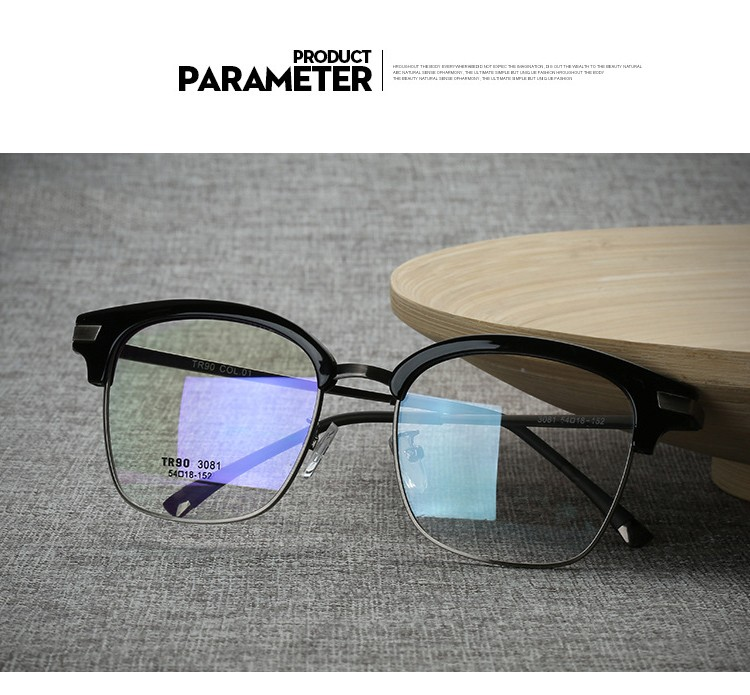 Practical Shauna Carbon Fiber Decoration Tr90 Eyeglasses Prescription Frame Men Resin Lens Ultralight Square Optical Glasses Myopia Men's Glasses Apparel Accessories