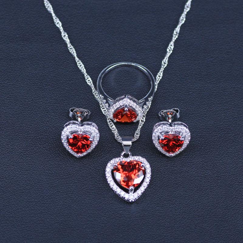 senhora coração vermelho criado garnet branco zircão