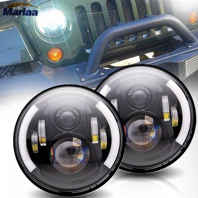 Marlaa For Lada 4x4 urban Niva Pair 60W 7inch LED Headlight Hi/Low H4 Led headlamp for Jeep Wrangler JK TJ Hummer H2 Patrol Y60