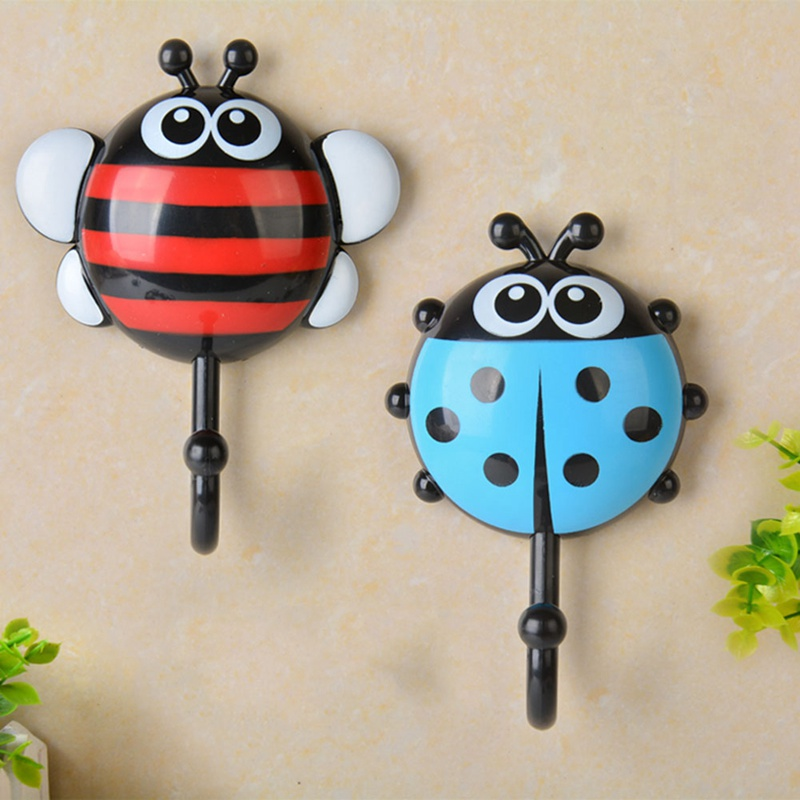 2pcs/set  Creative Ladybug/Bee Cartoon Bathroom Wall Hooks Kitchen/Bedroom Sucker Free Nail Hook Wall Decorative Hooks