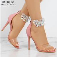 Blingbling Crystal Sandals Women Fashion Casual Thin Heels In Faux Suede Women Party Shoes