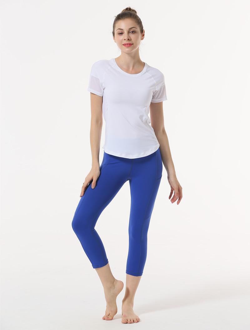 біла футболка Йога Топ Чиста пряжа - Спортивний одяг та аксесуари