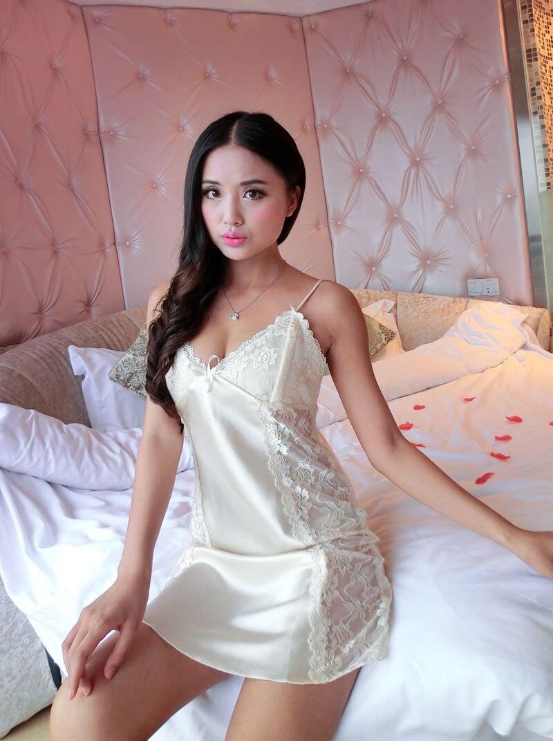 Faux silk Sexy women nightshirts   nightgowns  &  sleepshirt   female long satin nightdress ladies sleepwear nightwear pijama pyjamas