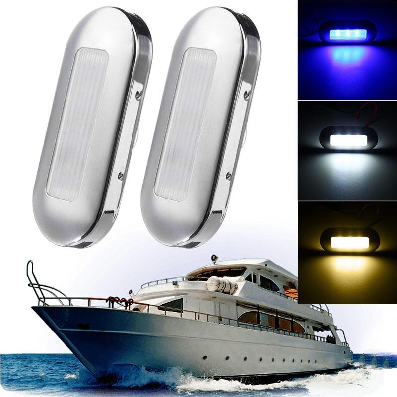 Marine Boat Yacht  White LED Courtesy Light 2 Pcs Caravan Navigation Light