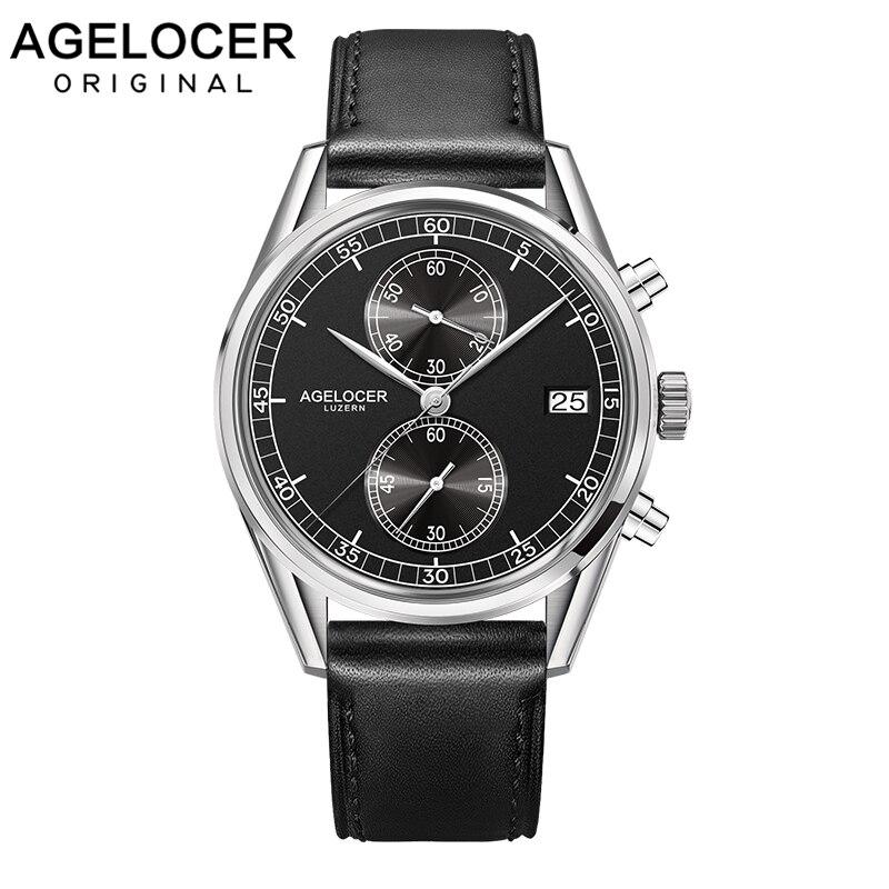 Suisse hommes montre AGELCOER marque suisse Designer chronographe montres à Quartz 50 m étanche en cuir véritable montre-bracelet hommes