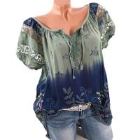 5XL Plus Size Women Hollow Out Lace Splice Blouse Summer Clothes V Neck Tie Bow Print