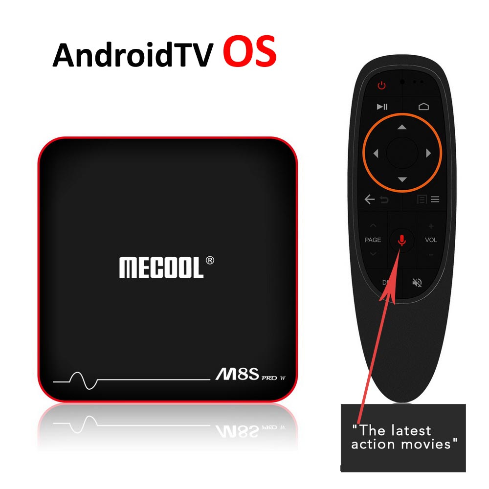 Android 7.1 AndroidTV OS Smart TV Box Amlogic S905W Quad Core 2G DDR3 16GB eMMC 2.4G Google Voice Control IR Remote Mecool