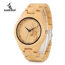 BOBO BIRD WD28 całkowicie bambusowy drewniany zegarek dla mężczyzn gorący łoś głowa jelenia historia projektant marki zegarki kwarcowe w szkatułce