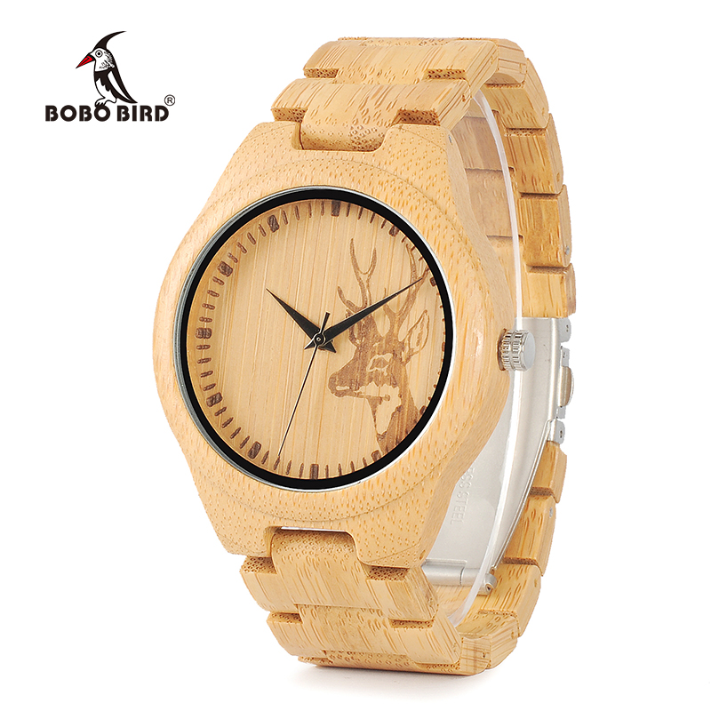 Saatler'ten Kuvars Saatler'de BOBO kuş WD28 tam bambu ahşap İzle erkekler için sıcak Elk geyik kafası hikaye tasarımcı marka kuvars bilek saatleri hediye kutusu