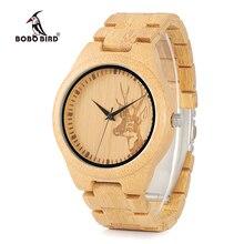 Bobo Vogel WD28 Volledige Bamboe Houten Horloge Voor Mannen Hot Elanden Herten Hoofd Verhaal Designer Merk Quartz Horloges In geschenkdoos