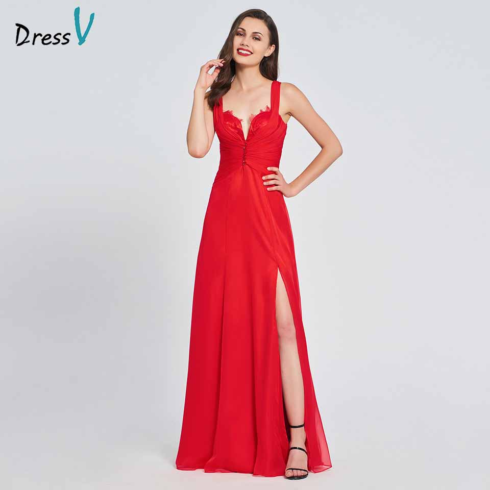 Dressv red a line elegant prom dress split front backless chiffon floor length evening party gown prom dresses customize