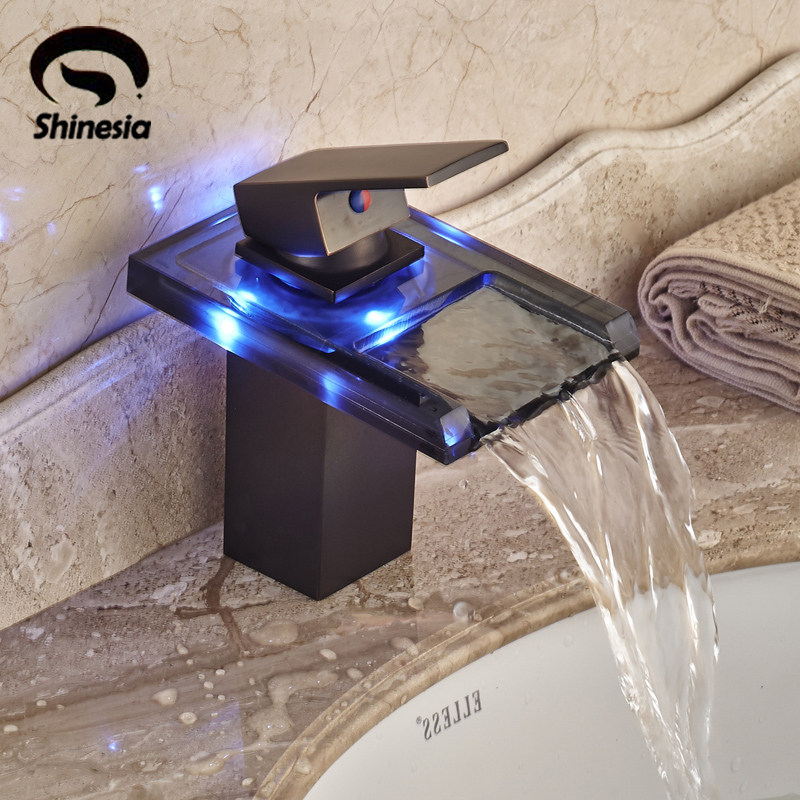LED Waterfall Glass Bathroom Single Faucet Basin Faucet Single Handle Mixer Tap Oil Rubbed Bronze free shipping bathroom basin faucet with single handle single hole antique brass oil rubbed bronze