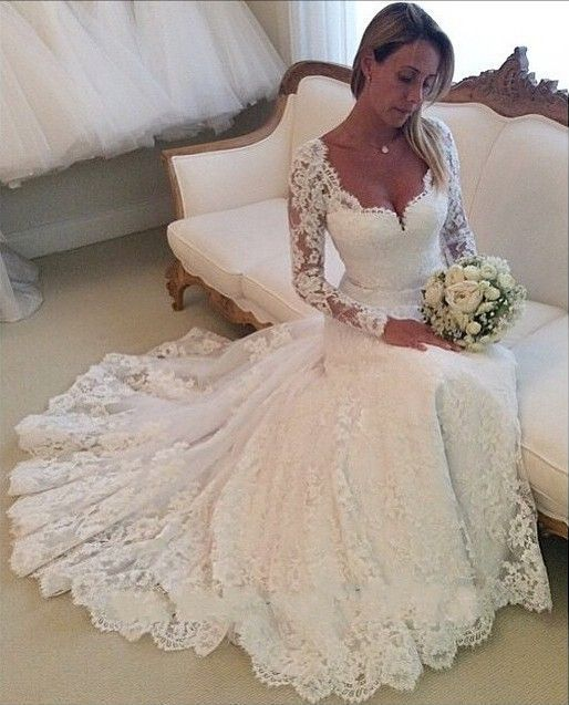 Vestido De Noiva Sereia 2018 Long Sleeves Mermaid Lace Appliques Bridal Gown Manga Longo Mother Of The Bride Dresses