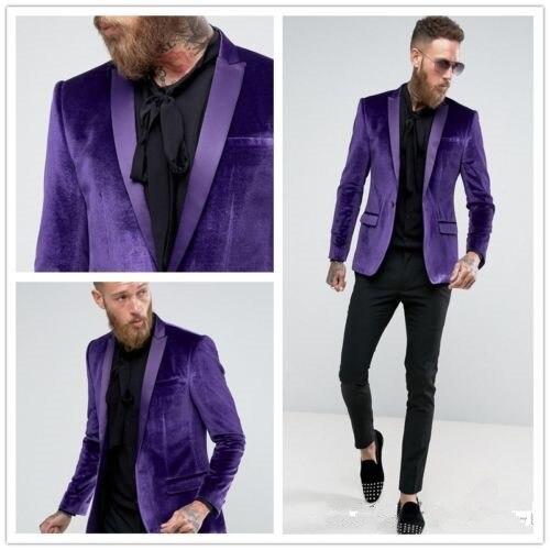 8af7a13a0 Esmoquin Con Nueva Trajes custom Chaqueta As Picture Púrpura Hombre Color  Novio Bodachaqueta Para Terciopelo Pantalón ...