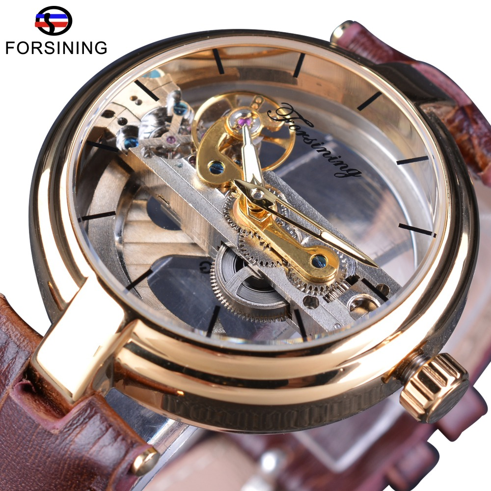 Forsining Brown Leather Belt Golden Bezel Transparent Case Steampunk Double Sided Hollow Men Automatic Watches Top Brand Luxury forsining 3d skeleton twisting design golden movement inside transparent case mens watches top brand luxury automatic watches