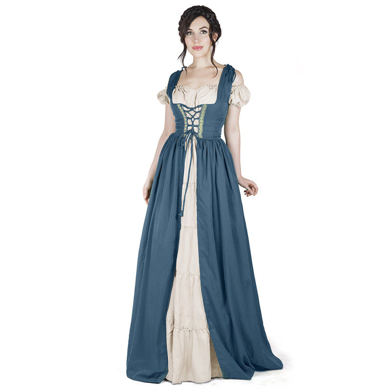 Women Vintage Dress Medieval Renaissance Costumes Off Shoulder Corset Lace  Up Dress Plus Size Adult Retro Party COS Dresses