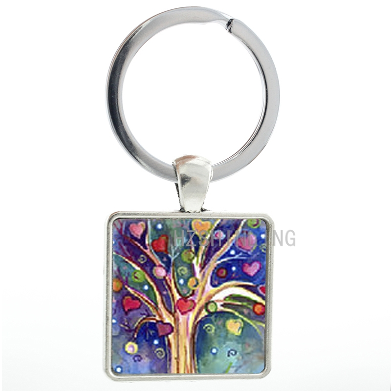 Novelty Colorful Art Tree keychain fashion charm love heart tree key chain ring holder friends Christmas New Year gifts AA163