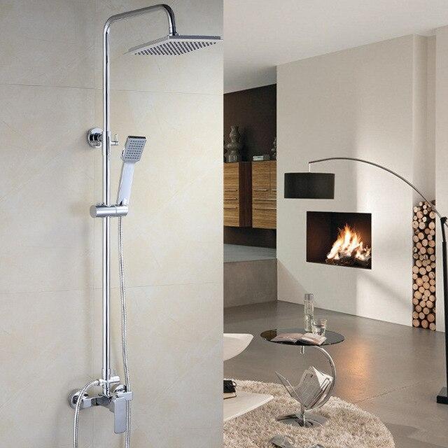 8 inch Square Shower Head Bathroom Shower Set Brass Chrome Wall ...