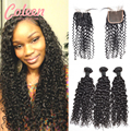 Indian Curly Virgin Hair 3 Bundles Water Wave Virgin Hair With Closure Indian Curly Weave Human Hair Bundles With Lace Closures