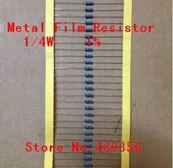 Frete grátis 100 pçs/lote 0.25 w resistor de filme de metal +-1% 10 k ohm 10 k 4.7k 2.2 k 1 k 100 k 1/4 w 1r--10m