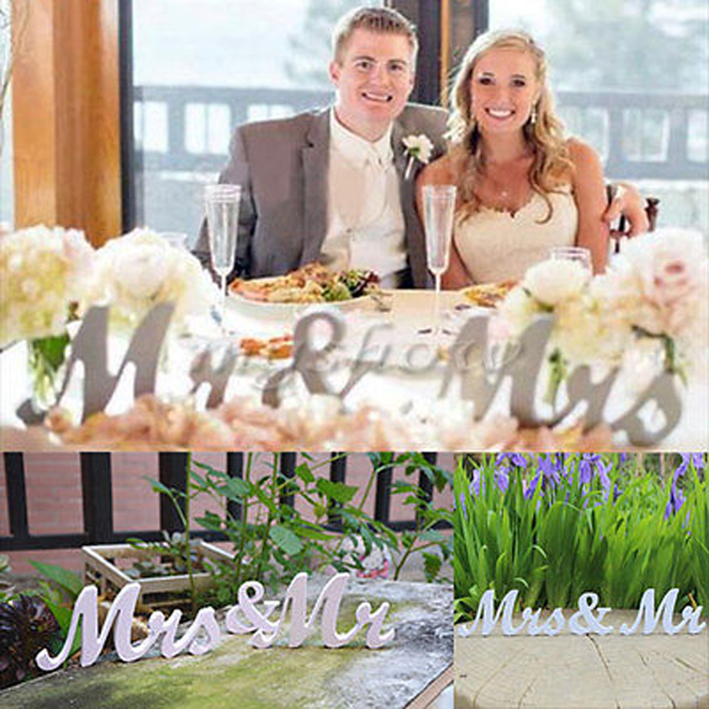 Mr and Mrs Letters Sign Wooden Standing Top Table Wedding Decoration White