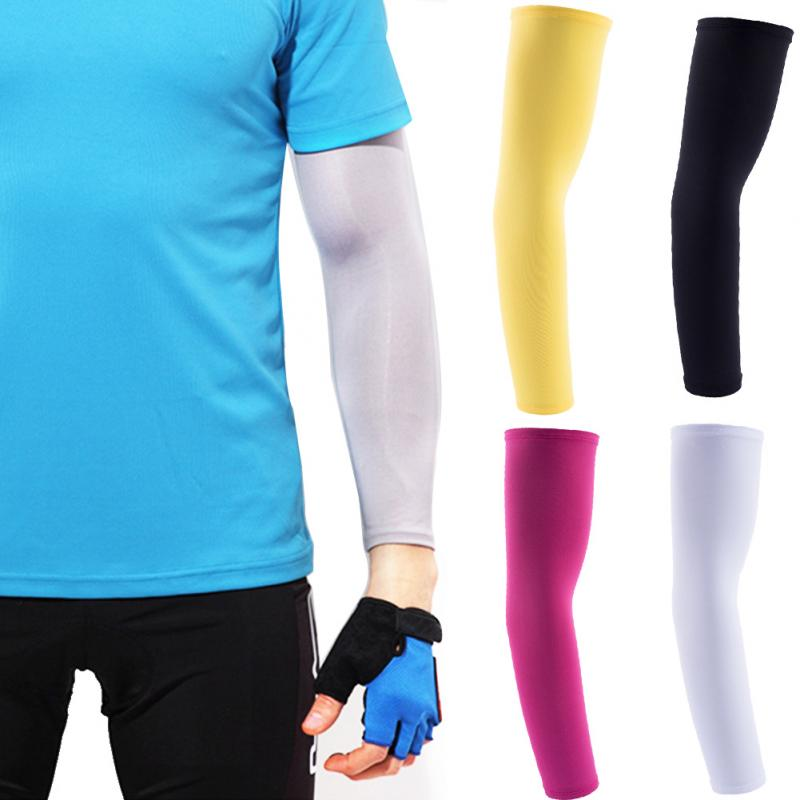 2Pcs/Set Ice Long Sleeve Outdoor Sports Riding Sunscreen Protection Running Arm Sleeves Basketball Elbow Pad Fitness Armguards