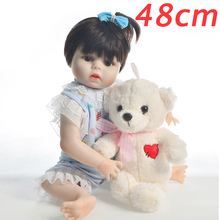 цены 48 cm Silicone Body 19'' Baby Doll Toy wear White lace clothes For Girl cute Babies Reborn Doll Princess For Children bebe gift