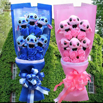 BOLAFYNIA stitch Plush Toys soap flower bouquet Soft Stuffed Dolls Plush bouquets For Valentine's Day Birthday Christmas Gifts
