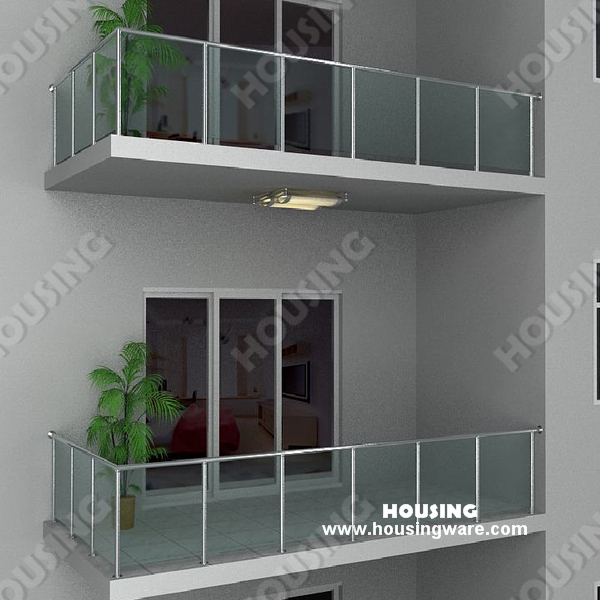 Stainless Steel Tempered Glass Tempered Glass Railing For Balcony On
