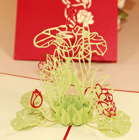 5pcs Lotus Handmade Kirigami Origami 3D Pop UP Greeting Cards For Wedding Birthday Party Gift