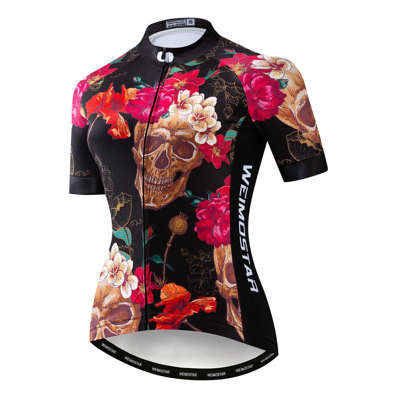 2019 PRO командная Женская велосипедная Джерси с коротким рукавом велосипедная Джерси рубашки одежда Maillot Ciclismo Розовый Черный череп