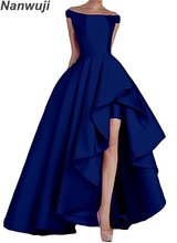 2018 Boat Neck  Royal Blue Womens Off Shoulder Long Evening Prom Dresses High Low Formal Gowns