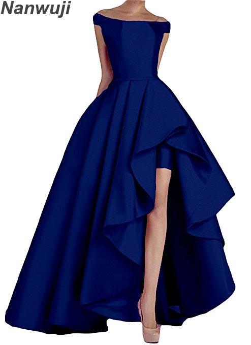 2018 col bateau bleu Royal femmes épaule dénudée longues robes de bal haut bas robes formelles