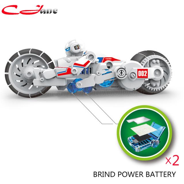 DIY Blocos de Construção Eletrônica Auto Moto Montado Poder Salmoura Bateria Educação crianças de Inteligência brinquedos Educativos