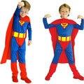 Бесплатная Доставка Дети Супермен Костюмы для Мальчиков Рождественский Карнавал Halloween Masquerade Party Fancy Dress Дети Косплей Одежда