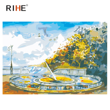 RIHE Quiet Park Diy Painting By Numbers Oil On Canvas Hand Painted Tree Cuadros Decoracion Acrylic Paint Home Decor