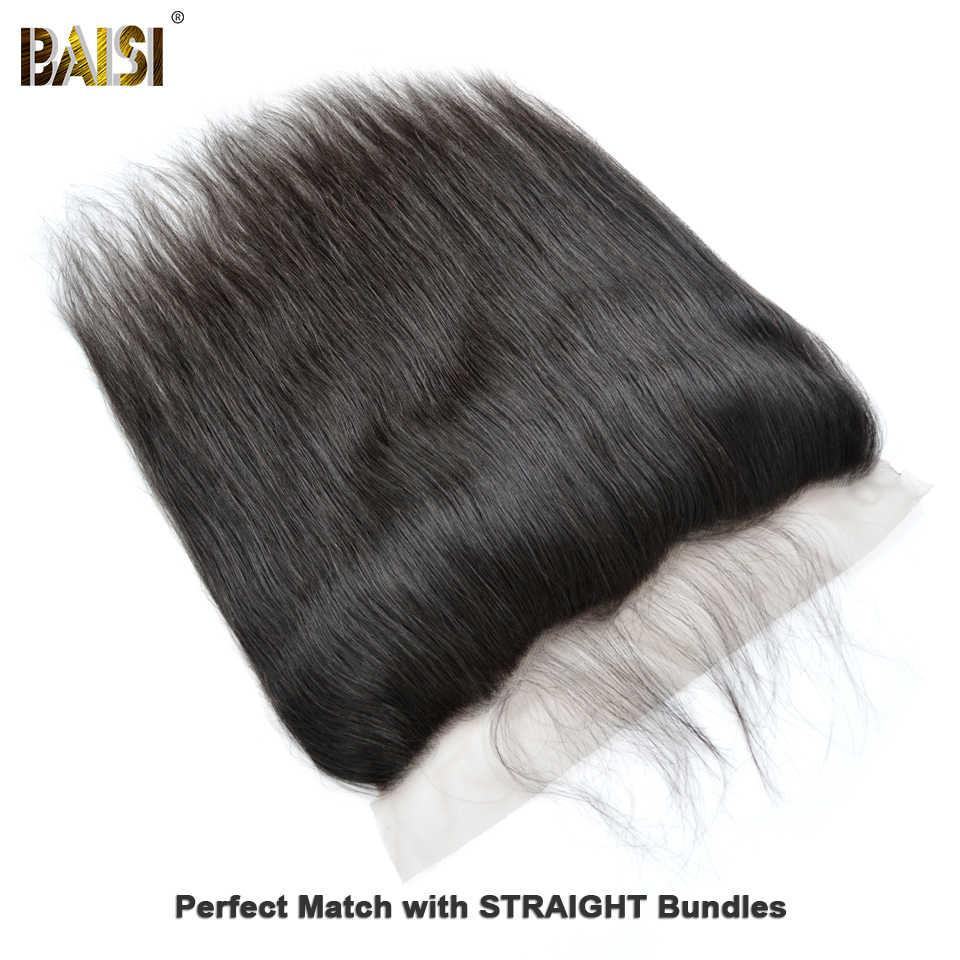 BAISI перуанские Виргинские Волосы швейцарские Кружева Фронтальные прямые средней длины коричневые с сеткой Фронтальные 13x4 100% человеческие волосы