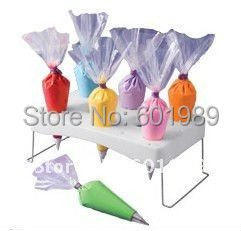 CAKE PIPING ICING NOZZLE DECORATING BAG HOLDER TRAY HOT CAKE DECORATION